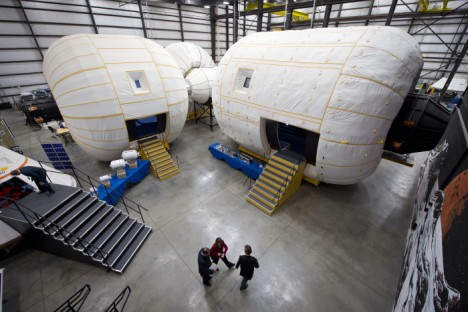 NASA Deputy Administrator Lori Garver is given a debate of a Bigelow Aerospace comforts by a company's President Robert Bigelow on Friday, Feb. 4, 2011, in Las Vegas.  NASA has been deliberating intensity partnership opportunities with Bigelow for a inflatable medium technologies as partial of NASA's idea to rise innovative technologies to safeguard that a U.S. stays rival in destiny space endeavors. Photo Credit: (NASA/Bill Ingalls)