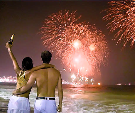 Champagne on Copacabana Beach during New Year