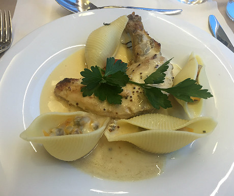 Breast of guinea fowl with seafood conchiglionis