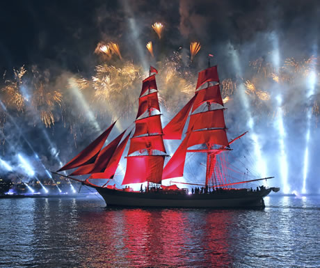The Scarlet Sails eventuality during a White Nights Festival in St Petersburg