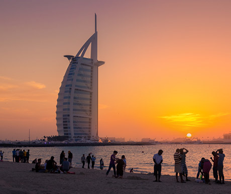 Burj Al Arab during sunset
