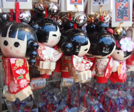 Souvenirs on a travel case in Asakusa, Tokyo