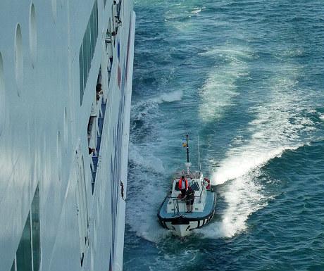 Pilot coming a ferry