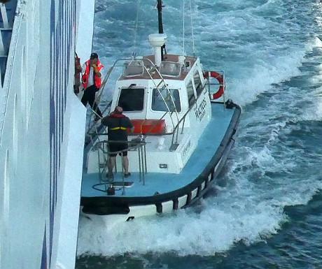Pilot boarding a ferry