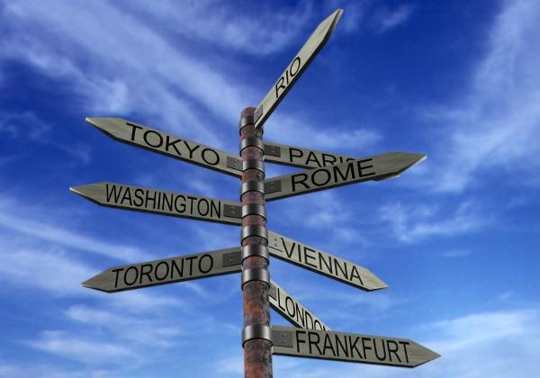 Travel Destinations Sign Post