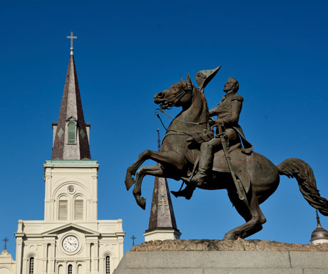 Americas Deep South debate - Andrew Jackson statue, Jackson Square, New Orleans