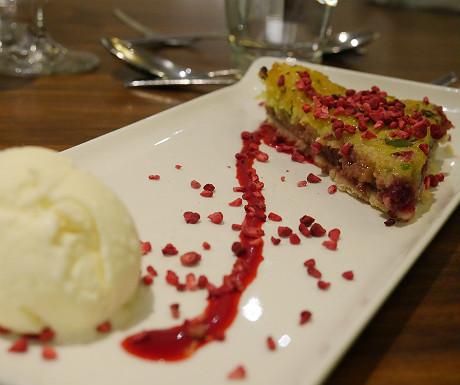Raspberry and pistachio slice