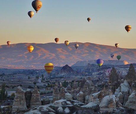 Balloons over a Pinnacles in Turkey