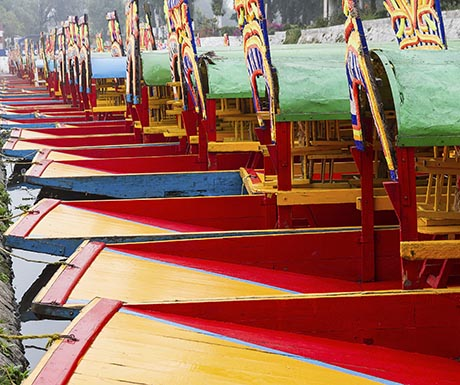 Colourful Mexican gondolas during Xochimilco's Floating Gardens