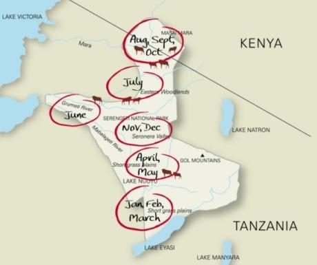 wildebeest emigration map Africa
