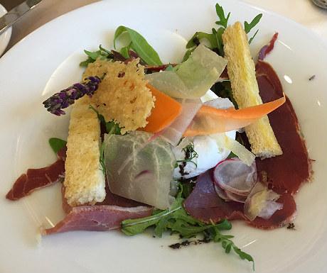 Piperade, Serrano ham and a poached egg